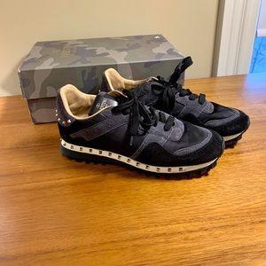 Valentino Rockstud Camo Trainer Sneakers Black